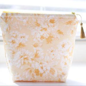 Handbags - Yellow rose cosmetic bag with gold tassel